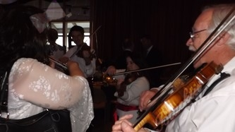 The strolling violinists entertained the crowd at dinner.
