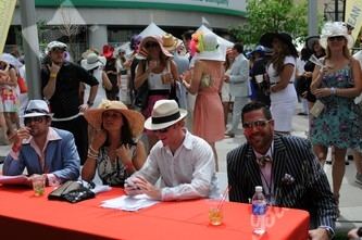 Judges Stanton Barrett of NASCAR fame, left, Cassie Roberts with Soybu, skiier Chris Anthony and Nordstrom GM Dan Jones