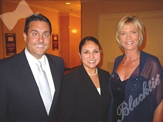 CBS4's Anchor Molly Huges, right, with Phil Workman and Elaine Torres.  Molly co-emceed the dinner with Ed Greene.