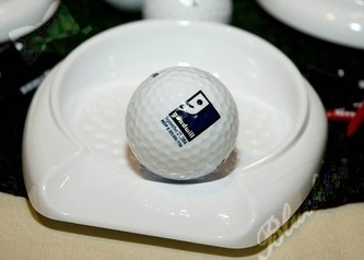 Sitting on each table, this icon of the Goodwill golf tournament was displayed as part of the centerpiece.