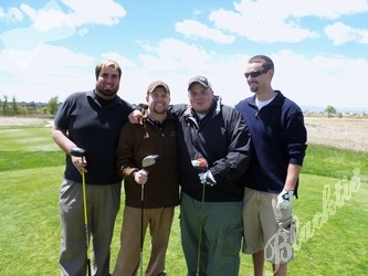 Ready to tee off (in a good way), l to r: Chris Medina, Dustin McVicker, SSF's assistant executive director Brad Lucero III and Jason Amos
