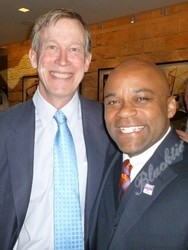Honorary event co-chairs Gov. John Hickenlooper (left) and Denver Mayor Michael Hancock