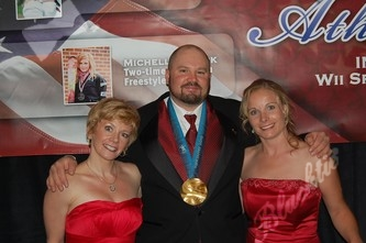 Olympians Michelle Roark, left, Steve Holcomb and Hannah Pennington