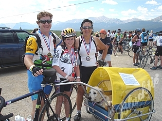 Team YAPS (Youth and Pet Survivors) Cory Carroll, left, Anise Fletcher, who just finished 2 1/2 years of chemotherapy, Connie Fredman and 3-legged Boone, who really enjoyed the ride.