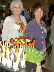 At the farmer's market station: Suzanne Laurion (left) and Cathy Silton
