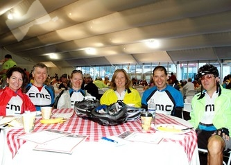 Some members of the Team CMC - riding for their third year together - left to right: Martha Markson, John Steiner, Carol Malesky, Dianne Brogden, Spero Papadopoulos and Jay Markson.