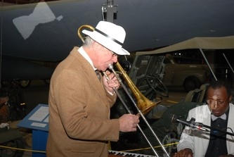 Jerry Barnett led the way to dinner with his trombone