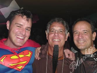 Superman Shane Nicholson, left, Ed Gruben, and Andy Mitas