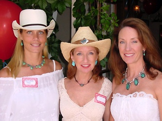 Cowgirls, summer style.  Jennifer May, left, Andy Carrington, and Debra McKenney.